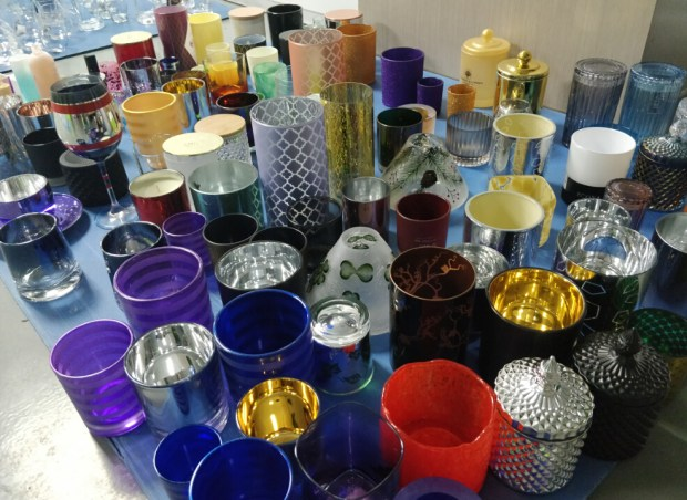 Prepare candle holder and glassware sample for exhibition