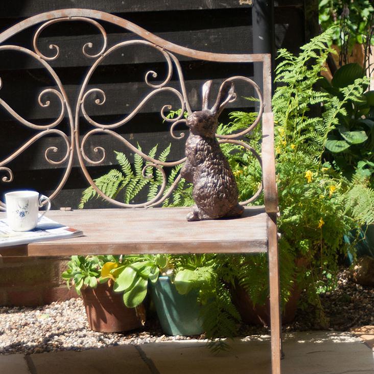 Rabbit Garden OrnamentBronze Garden Rabbit Sculptures Candle And Blue