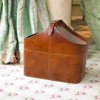 Leather Magazine Holder Leather Basket Leather Storage ...