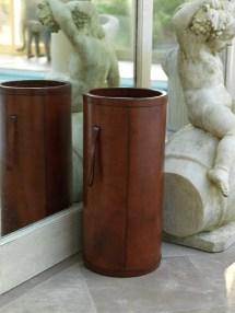 Leather Brown Umbrella Stand Basket Holder