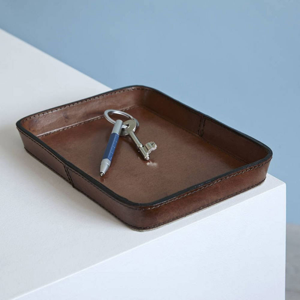 Brown Leather Key TrayCoin Leather Key TrayTidy Tray Candle And Blue