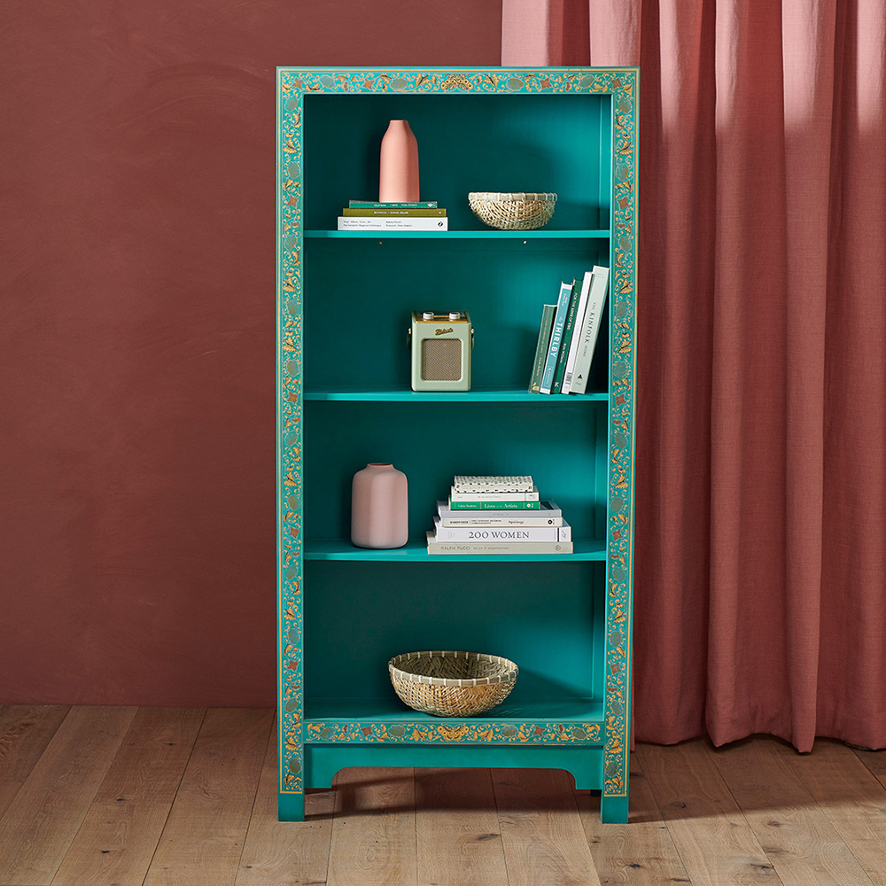 Oriental Style Blue Tall Wooden Bookcase Bookcase Uk