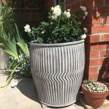 Large Zinc Plant Pot Holder Garden Dolly Tub - Candle