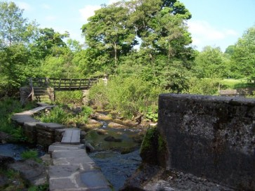 River Derwent, stepping stones and bridge
