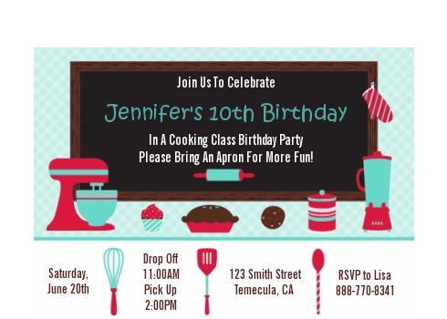 cooking class birthday party petite invitations