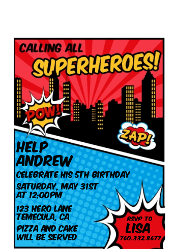 Calling All Superheroes Birthday Party Petite Invitations