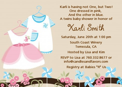 Twin Little Outfits 1 Boy And Baby Shower Invitations