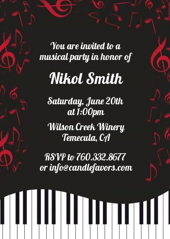 Musical Notes Black And White Birthday Party Invitations