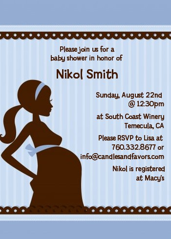 Mommy Silhouette Its a Boy Baby Shower Invitations  Candles and Favors