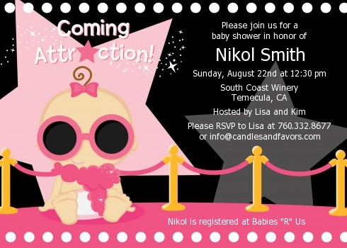 A Star Is Born Hollywood Black Pink Baby Shower Invitations