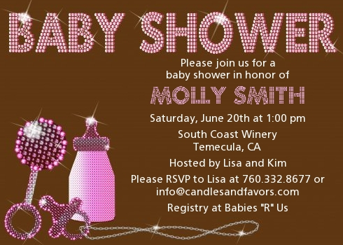 Baby Bling Pink Shower Invitations