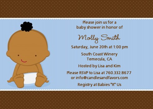 Baby Boy African American Shower Invitations