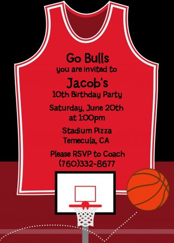 Basketball Jersey Red And Black Birthday Party Invitations