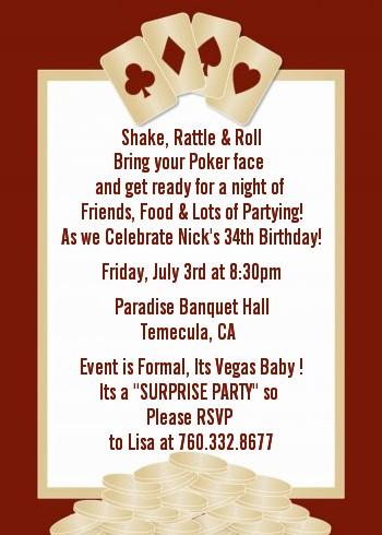 Casino NightPoker Night Birthday Party Invitations