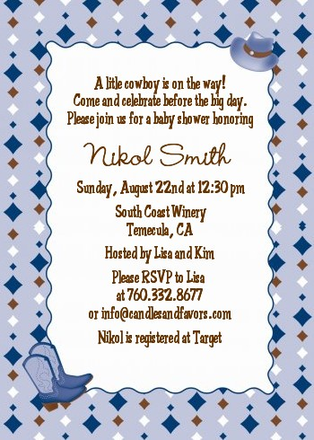 Cowboy Western Baby Shower Invitations