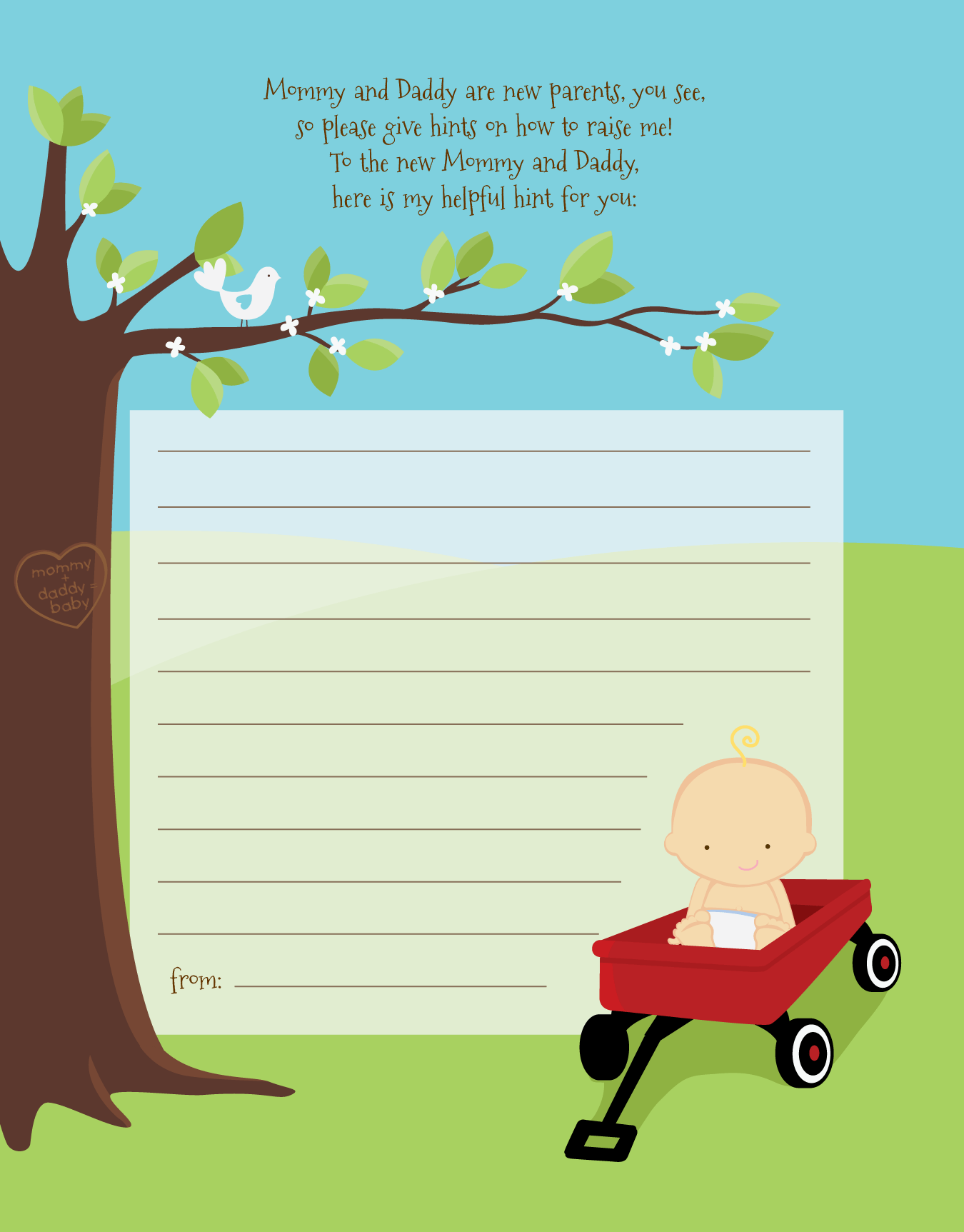 Little Red Wagon Baby Shower Notes Of Advice