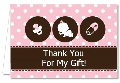Baby Shower Thank You Cards Modern Baby Girl Pink Polka