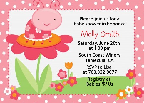 Modern Ladybug Pink Birthday Party Invitations Candles