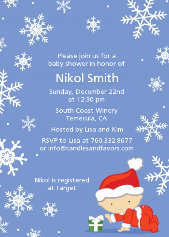 Christmas Baby Snowflakes Shower Invitations