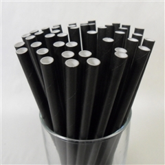 Paper Drinking Straws Solid Black Qty Of 25