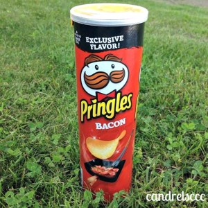 bacon pringles can in the grass