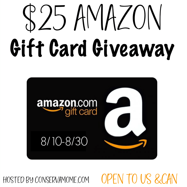 August $25 Amazon Gift Card #Giveaway with @Conservamome Ends 8/30