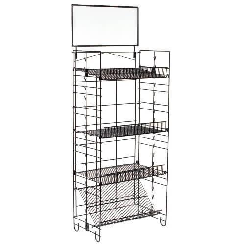 four shelf wire rack w clip strips