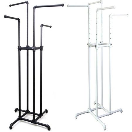 4 way metal pipe clothing rack adjustable garment display