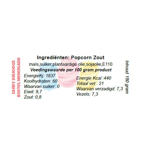 Ingrediënten Popcorn Zout 3liter