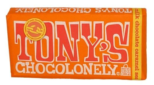 Tony's chocolonely milk chocolate caramel sea salt candy bar package