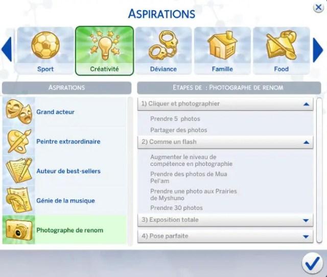 aspiration photographe sims 4