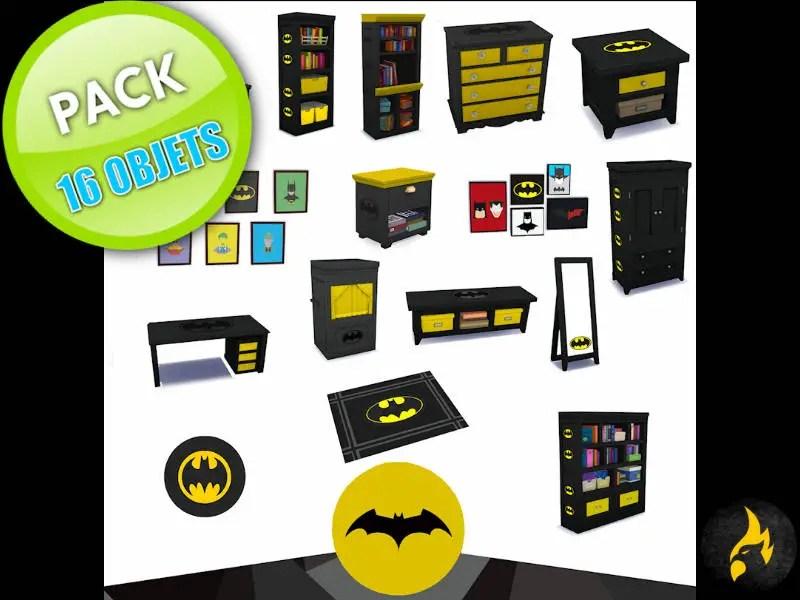 """▷ Pack d'objets pour Chambre d'Enfant """"Batman"""" par iSandor"""