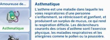 trait asthmatique sims 4