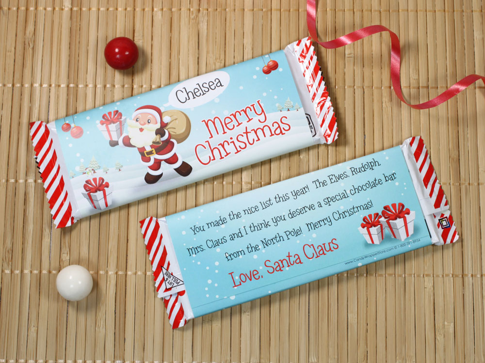 Personalized Santa Candy Cane Candy Bar Candy Wrapper