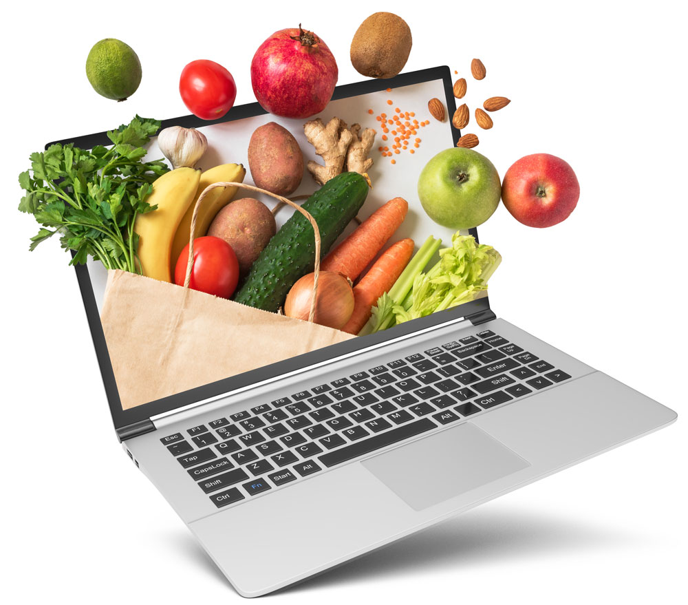 healthy food come from laptop