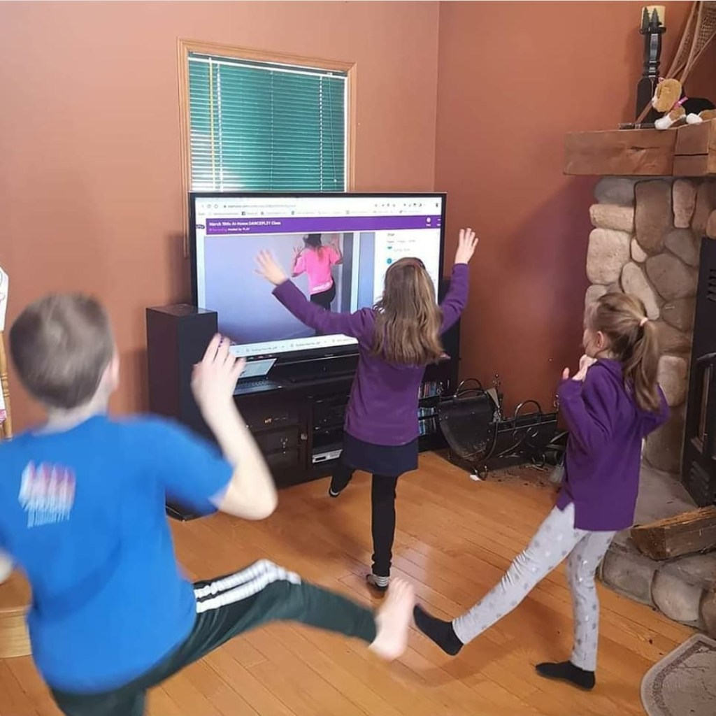 Kids Dancing at Home from a computer