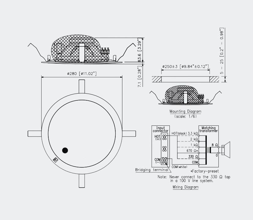 TOA PC-2852 LOUDSPEAKER Circular, ceiling, 1.5-15W taps