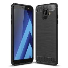 Carbon Case Flexible Cover TPU Case for Samsung Galaxy A6 2018 - Black
