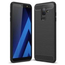 Carbon Case Flexible Cover TPU Case for Samsung Galaxy A6 Plus 2018 - Black
