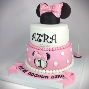 1 Yaş Pastası Mini Pasta Minnie Mouse Cake