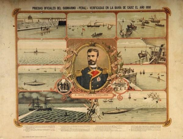 Grabado sobre las pruebas del submarino de Isaac Peral en Cádiz, para 1890 – DIONISIO PÉREZ