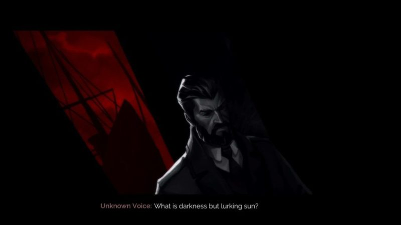 Black and white cutscene showing the subtitle text size