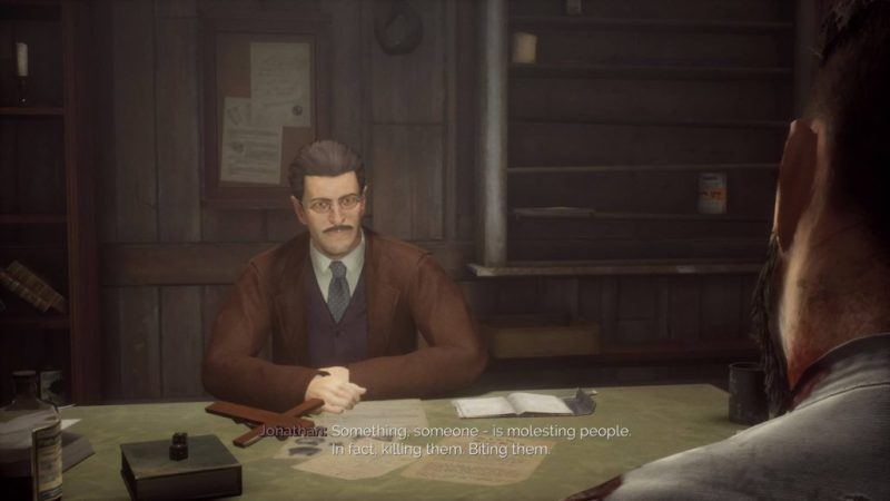 Jonathan talking with NPC in a hotel room. Image depicts subtitles with poor contrast that are hard to read.