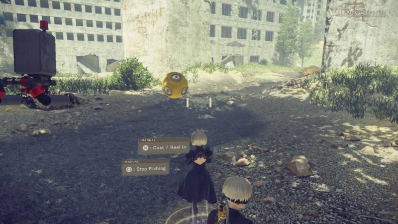 2B fishing in a stream in city ruins.