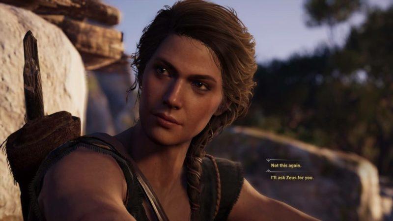 Close-up of Kassandra in conversation.