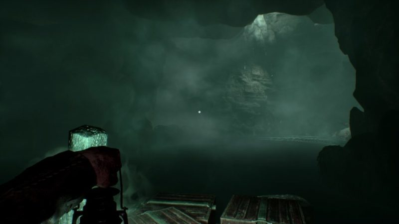Foggy cave area, image taken to illustrate the disconnect between the controller vibration and lack of captioning.