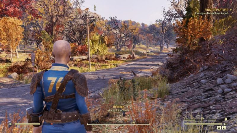 """Exploring the wasteland with subtitles indicating """"radio drama plays"""" with no text of what's actually being said."""