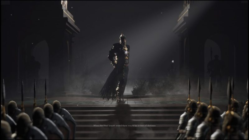 Opening cutscene from Ashen, person in metal armor with frayed cape addressing rows of armored soldiers holding spears. Illegible subtitle text at the bottom of the screen.