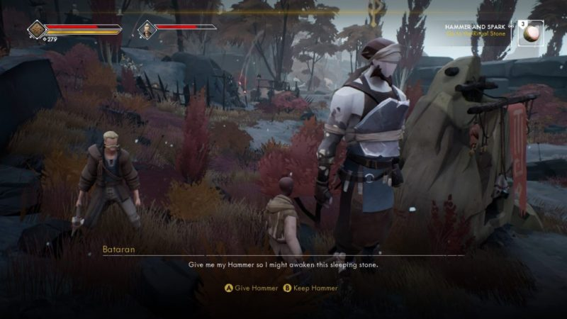 """Characters from L to R: Blonde man with mustache, player created character a bald woman wearing rags, giant man wearing leather armor with a brown beard. Subtitle text reads, """"Give me my hammer so I might awaken this sleeping stone."""" with player dialogue options """"Give Hammer"""" and """"Keep Hammer."""""""