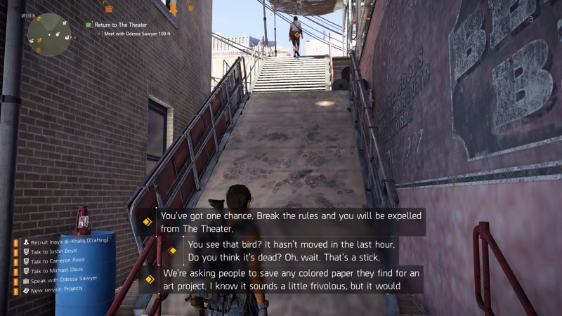 Player character walking up outpost ramp with three sets of subtitles displayed on screen at once.